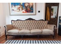 Vintage buttoned Louis XVI-style 4-seater Sofa - Needs Re-upholstery