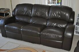 Three seater reclining leather sofa