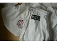 White Karate suit BLITZ Top & Bottoms 5/180. White belt BARGAiN £10.