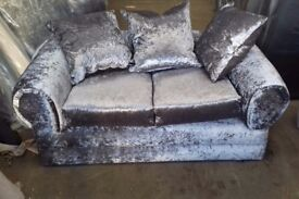 Brand new crushed velvet 321 three piece suite with footstool