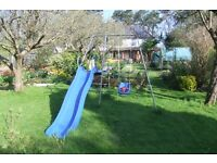 Climbing frame, slide and swing