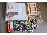 Paints joblot set oil acrylic water brush easel canvas turpentine Daler Rowney!!