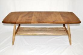 Vintage Retro 60's Ercol Windsor Coffee Table with Magazine Rack - As New - Fully Renovated