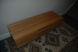 Solid Oak TV cabinet with shelves and cupboards