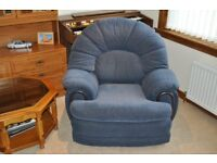 2 blue velour armchairs for sale