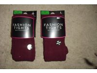 SIZE S/M BRAND NEW 2 PAIRS OF BURGUNDY FASHION TIGHTS