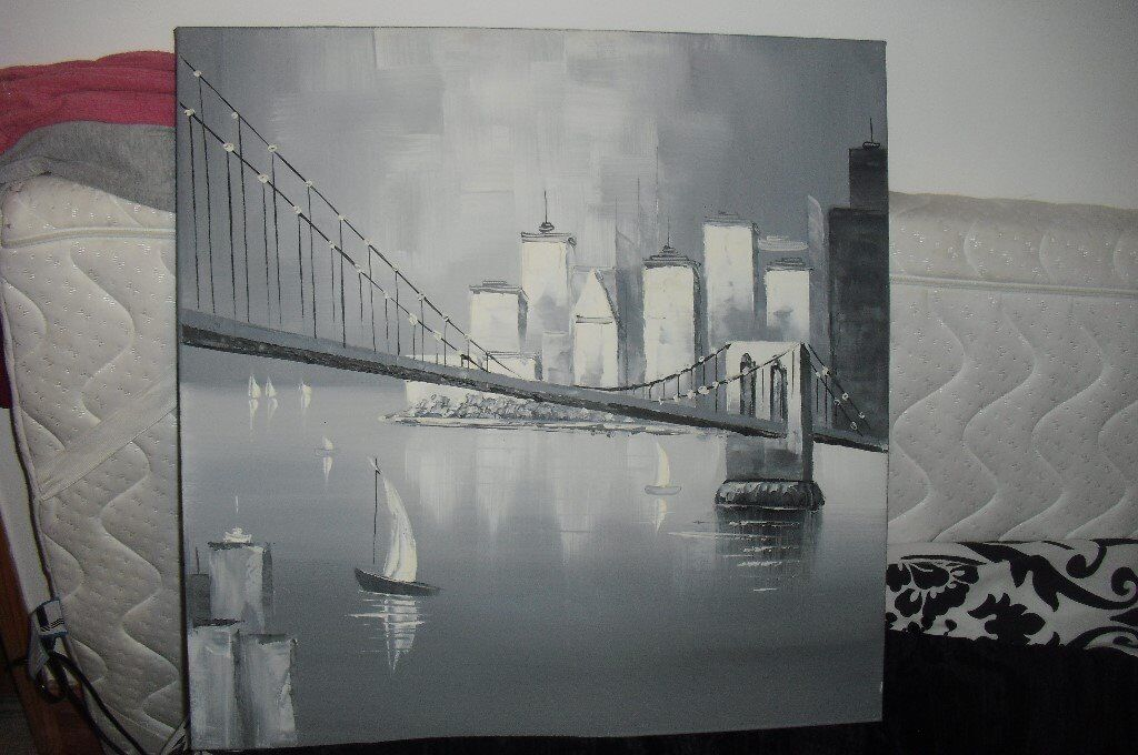 "SQUARE GREY PRINT CANVAS PICTURE SIZE 24"" X 24"""