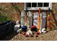 Bag containing cricket bats, pads, gloves etc for sale