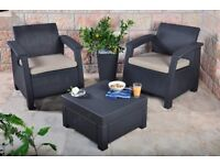 Garden/outdoor Rattan Furniture Set - Graphite with Cream Cushions by Keter!