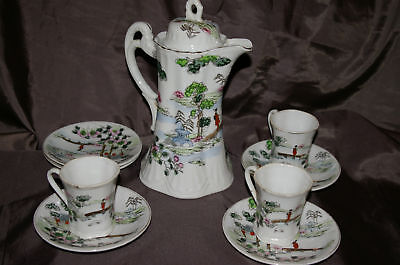 GEISHA GIRL GREEN TRIM CHOCOLATE POT CUPS SAUCERS 10 PIECE SET BEAUTIFUL COND