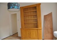 solid oak bookcase, over 8ft tall