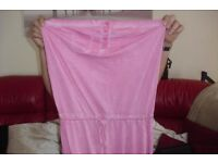 "SIZE 10 ""NEXT"" PINK STRAPLESS LONG DRESS PULL TIE WAIST SPLIT UP ONE SIDE"
