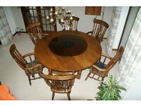Large solid oak round French dining table plus 6 solid beech colour matching chairs