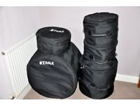 Pearl Blue strata EXR Shell pack drums with TAMA gig bags