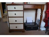wooden desk table with drawers solid wood brown and cream