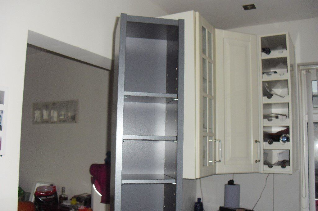 """IKEA"" TALL DARK GREY WOODEN CD/DVD STORAGE UNIT HEIGHT 78"""