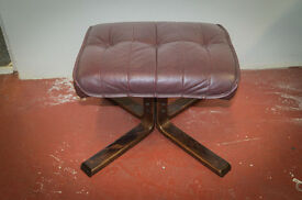 Mid Century Walnut and Leather Foot Stool