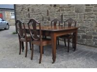 victorian mahogany windout extending table and four hepplewhite dining chairs