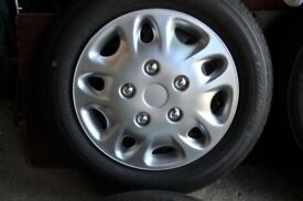 SET OF FORD FIESTA WHEELS, TRIMS, TYRES 175 X 65 X R14 IN VERY GOOD CONDITION