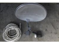 Sky satellite dish with LNB and mounting bracket & Pole + Cable+bolts+Spare Quad LNB