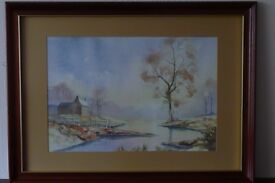 Framed watercolour painting by Nick Grant