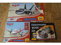 2 New boxed Disney Planes Model Kit :BRAVO,ROCHELLE & 4x4 Car from Construction Toys