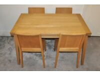 Habitat Oak Extending Ruskin Dining Table and 4 chairs by Nick Green - Free Local Delivery