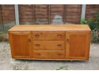 Vintage Mid Century Retro Ercol Model 455 Long Sideboard with Drawers on Castors