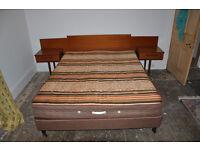 Retro Schrieber teak effect king size bed divan and mattress