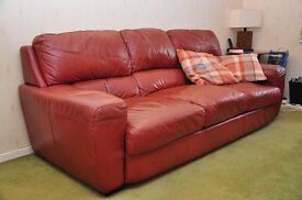 Italian Brown Leather 3 Seater Sofa from Cousins store
