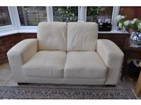 Leather 2 seater sofa & 1 armchair - beige
