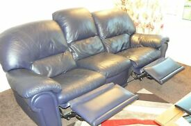 Dark Blue 3pc & 2pc Leather suite ( with reclining action)
