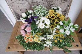 Job lot 14 bunches artificial flowers