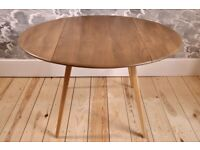 Vintage Retro 60's Ercol Oval / Circular Drop Leaf / Extending Plank Table - Fully Renovated