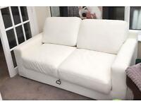 White leather double sofa bed