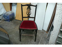 Chair, small red velvet upholstered pretty backed dark oak dining chair.