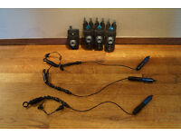 3 PROLOGIC SMX BITE ALARMS WITH RECEIVER AND MATCHING LIGHT UP HANGERS CARP FISHING TACKLE GEAR