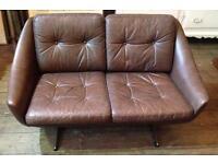 Danish Mid Century Two Seater Leather Sofa- Retro / Vintage