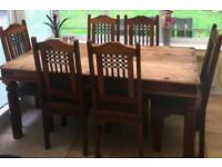 Sheesham Wood Dining table & 6 chairs with side tables