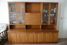 Large light coloured GPlan style display cabinet