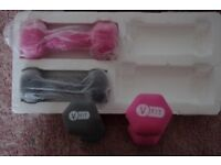 LADIES GREY & PINK V-FIT DUMBBELLS 2 x 1kg & 2 x 1.5kg UNUSED IN BOX COLLECT ONLY BENFLEET