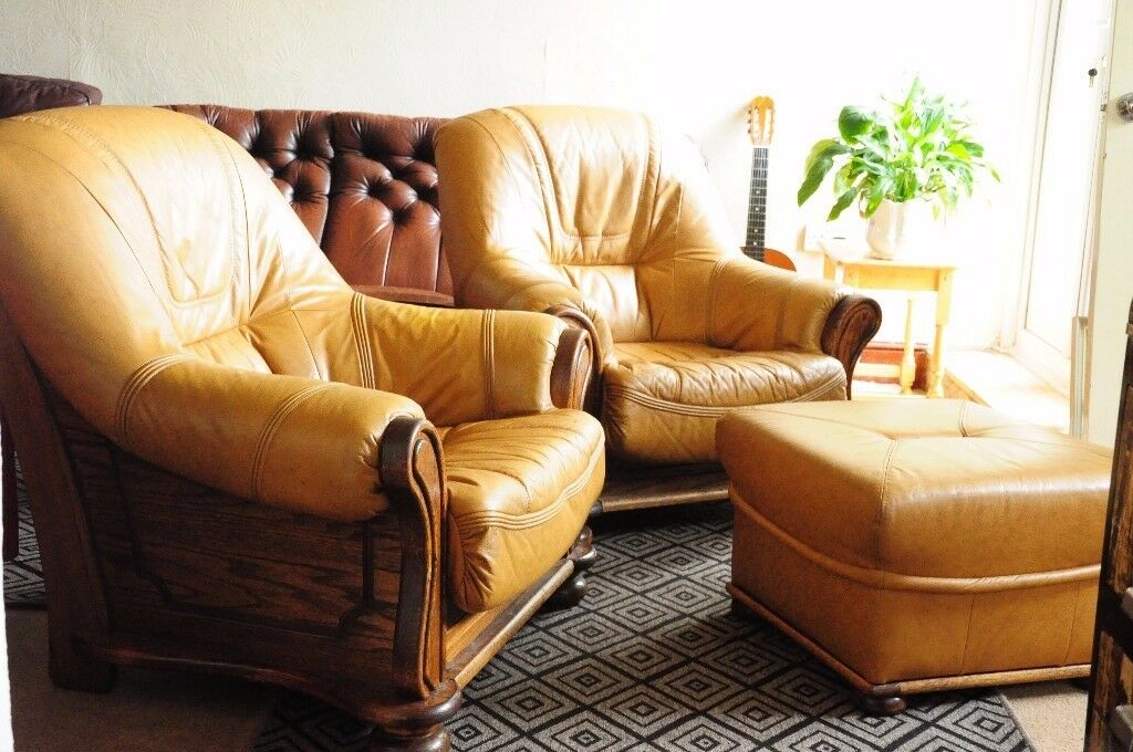 SOLID OAK Armchair PAIR with POUFFE. leather seating. WILL DELIVER.