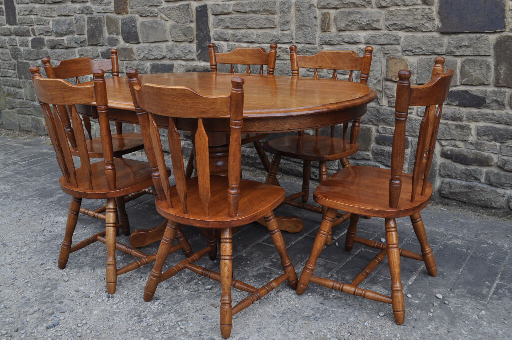 Rubberwood Pine Oval Shaped Dining Table And 6 Chairs In Bishop
