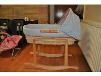 Blue Moses Basket with Rocking Stand (Mothercare)