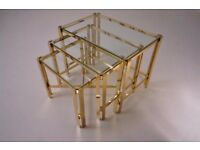 Gold nesting tables, gold plated gilt by Pierre Vandel, 1970`s ca, France