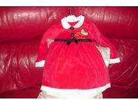 AGE 18/24 MONTHS LITTLE RED SANTA DRESS WITH BLACK RIBBON + BOW