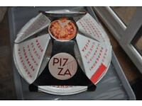 Pizza dish and serving plates
