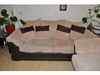 Reduced price! Brand new DFS convertible bed sofa. Brown suede leather and cream textured fabric