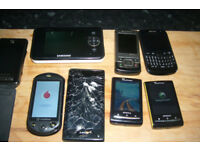 a mixed bundle of 7 mobile phones & 1 baby monoiter