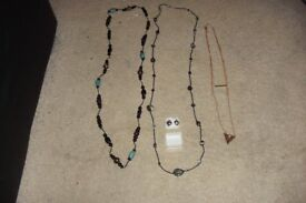 SELECTION OF COSTUME JEWELLERY INCLUDES LONG BEADS, 3 TIER GOLD PLATED NECKLACE